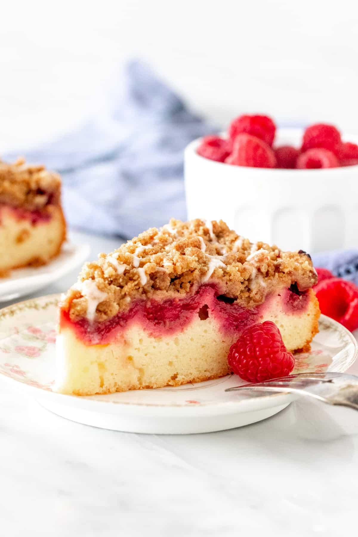 Slice of raspberry coffee cake