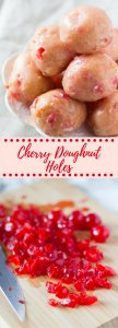 Perfect Cherry Doughnut Holes with a Sweet & Sticky Glaze - No need to visit the doughnut shop with these delicious morsels!