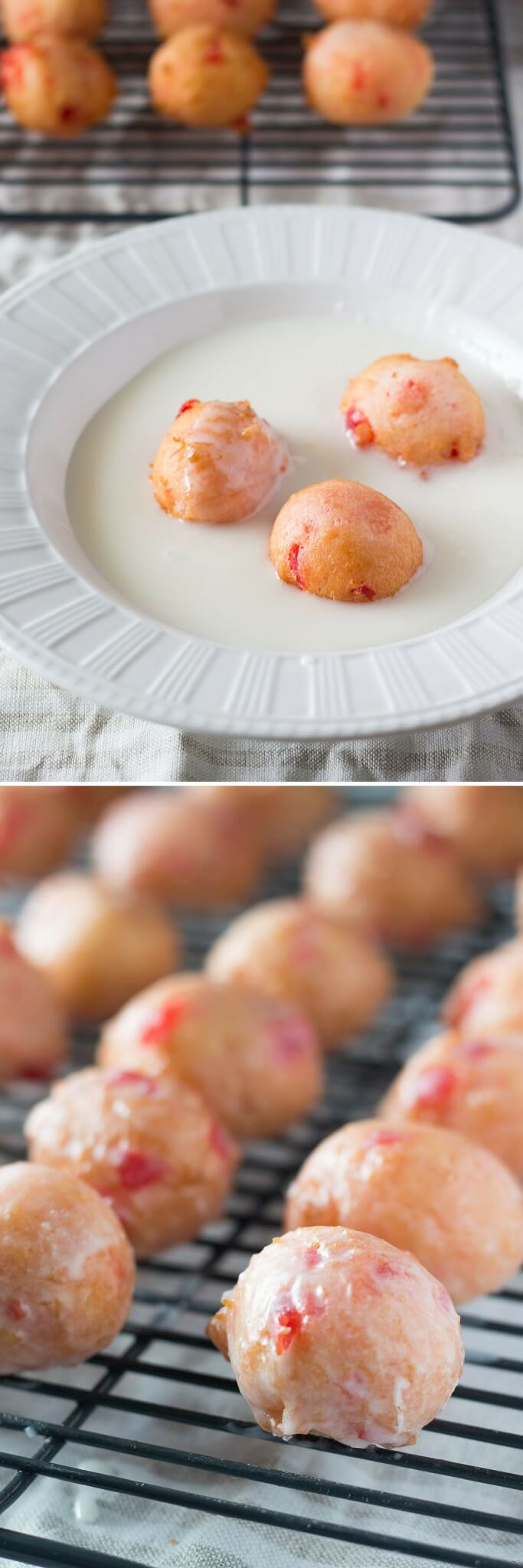 Cherry Doughnut Holes made from scratch! Delicious cake doughnut texture, perfectly pink in color & dripped in sweet glaze. You NEED to make these!