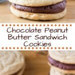 Chocolate Peanut Butter Sandwich Cookies. Two soft & chewy peanut butter cookies sandwiched with creamy chocolate frosting. www.justsotasty.com