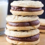 Two soft & chewy cookies slathered with milk chocolate buttercream. If you like peanut butter cups - these Peanut Butter Sandwich Cookies with Chocolate Frosting are for you.