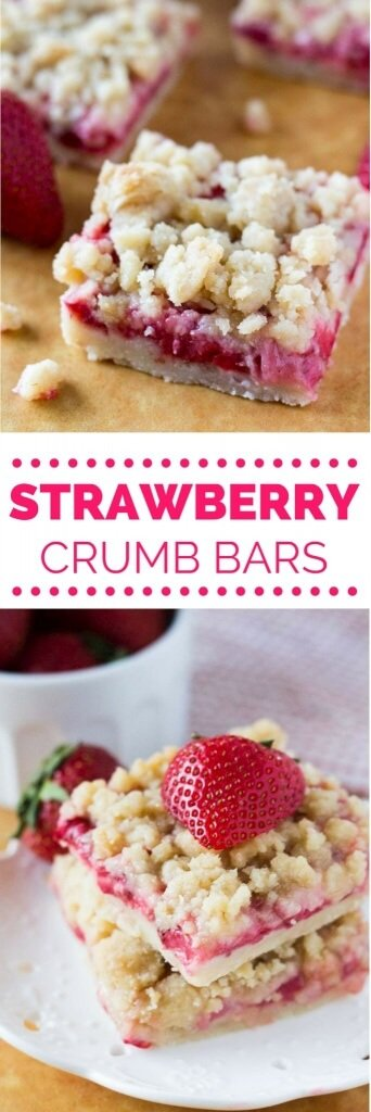 These Strawberry Crumb Bars have a buttery shortbread base, a layer of fresh juicy strawberries & are topped with a delicious streusel topping. So easy & so tasty!