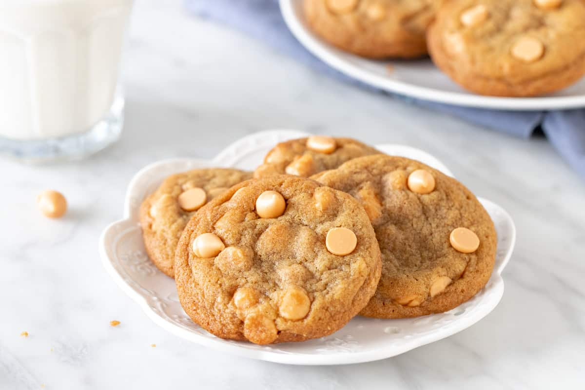 Small plate of cookies with glass of milk