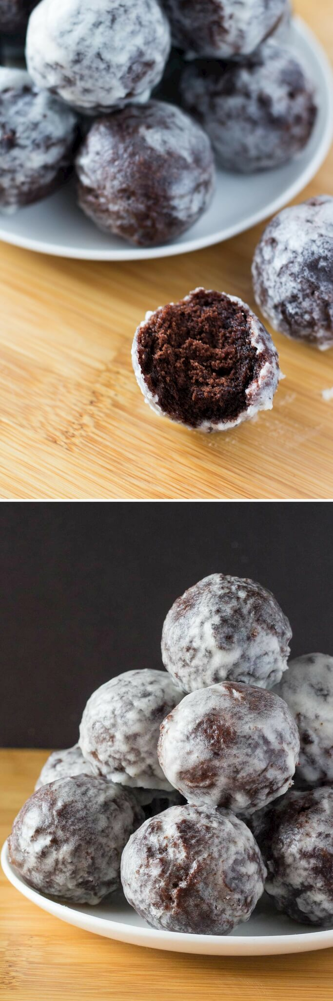 Perfectly fudgy Chocolate Doughnut Holes dipped in sweet vanilla glaze! Fluffy, oh so moist & so much better than the doughnut shop! www.justsotasty.com