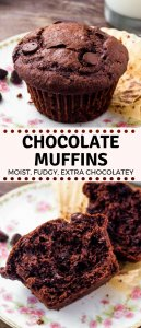 These extra moist double chocolate muffins are everything you could want in a muffin. They have slightly crunchy tops with deliciously tender centers that filled with melted chocolate. #chocolate #muffins #doublechocolate #recipes #chocolatemuffins