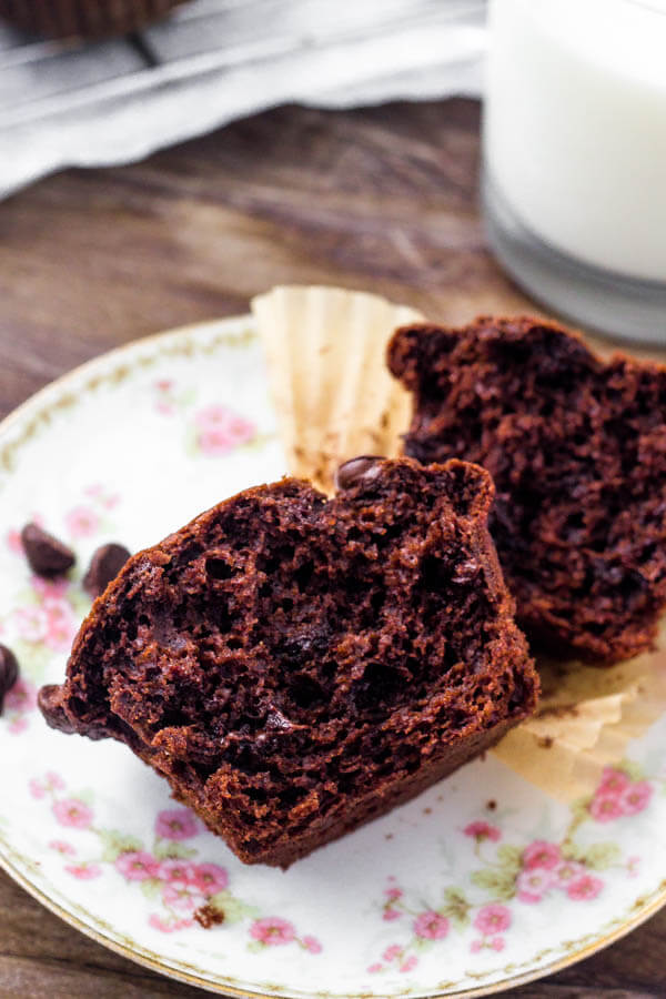 These chocolate muffins are moist, fudgy & filled with chocolate chips.