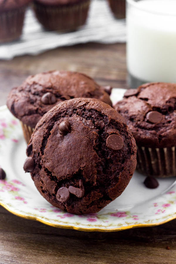 These gooey chocolate muffins are made with oil and cocoa for a rich fudgy flavor.