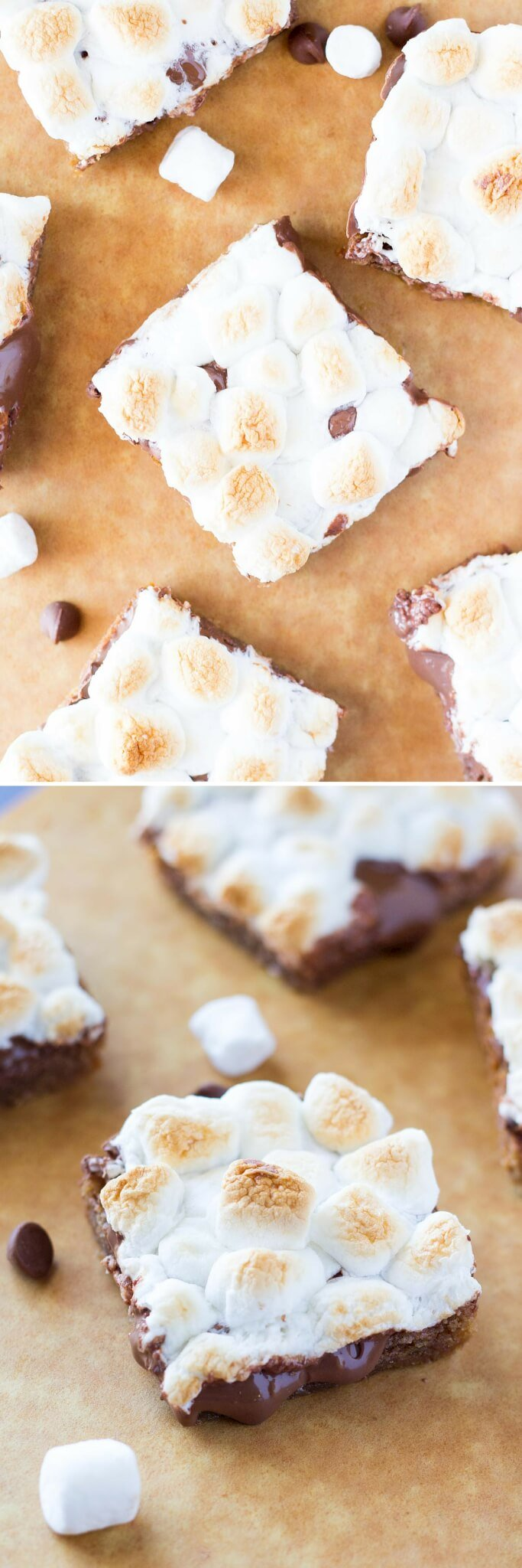 Chewy, gooey, Super Easy S'mores Bars - a blondie-like base, melted milk chocolate & toasted marshmallows come together in these amazing treats! Ready in no time and no mixer required!