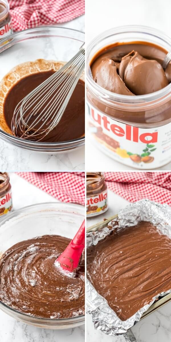 Collage of step by step photos showing how to make Nutella Brownies