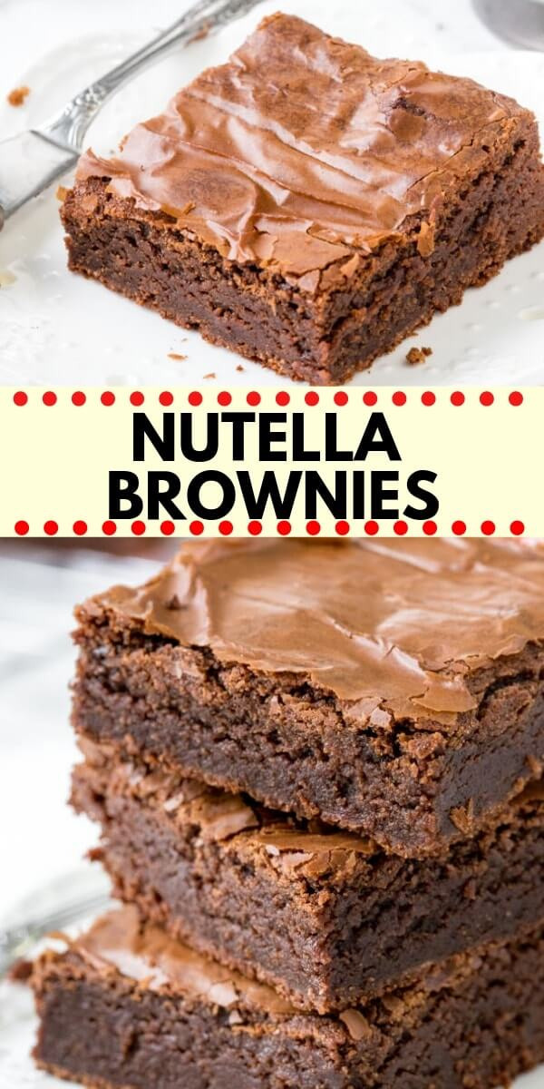 These easy Nutella Brownies are fudgy, gooey and perfectly chocolate-y. They have a delicious chocolate hazelnut flavor that isn't too rich, and a gooey texture with crinkly brownie tops. The best ever Nutella brownie recipe! #nutella #brownies #nutellabrownies #recipes #easy #brownierecipes