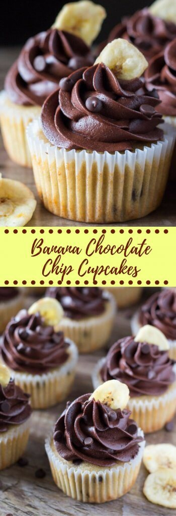 Super flavorful, perfectly moist Banana Chocolate Chip Cupcakes with Chocolate Buttercream. If you love banana bread and chocolate - these are for you!
