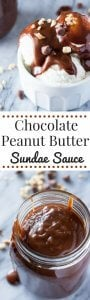 Silky smooth Chocolate Peanut Butter Sundae Sauce. 5 ingredients, made in the microwave & ready in less than 5 minutes - this decadent sauce is like a peanut butter cup in sundae form!