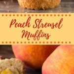 Fluffy, buttery, super soft Peach Muffins with Streusel Topping - The combo of fresh summer peaches and crunchy, cinnamon, pecan streusel makes these the perfect peach muffins!