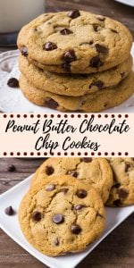 These giant peanut butter chocolate chip cookies are soft and chewy with slightly crispy edges and filled with chocolate chips.
