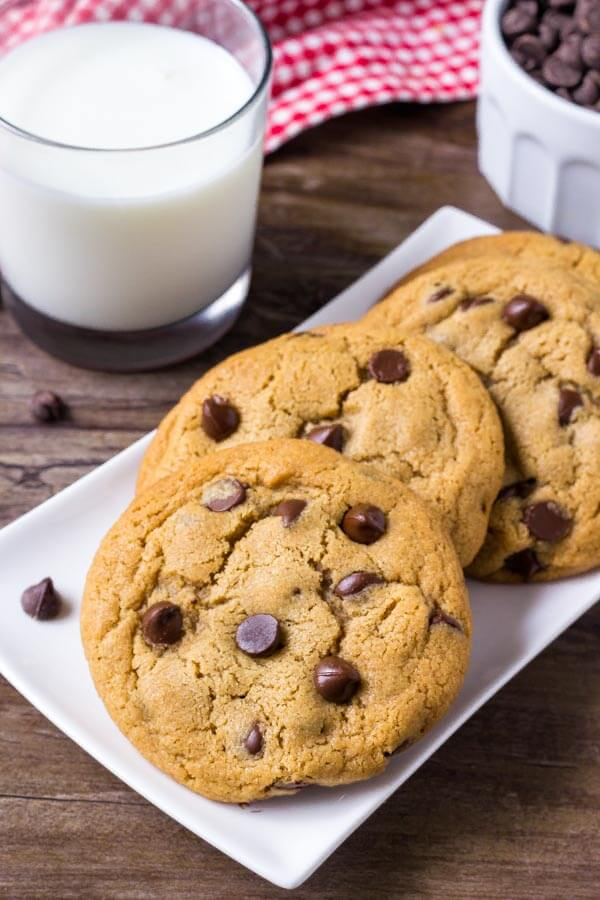 Peanut Butter Chocolate Chip Cookie Recipe - these are thick, chewy, extra soft, and filled with tons of chocolate chips.