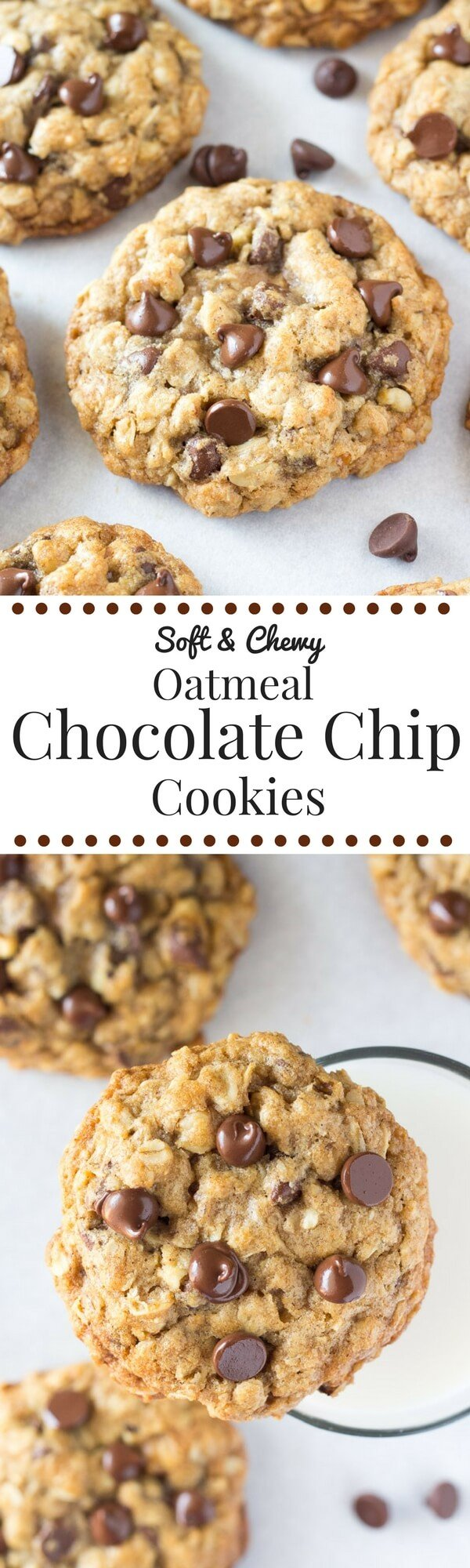 Soft and Chewy Oatmeal Chocolate Chip Cookies - Just so Tasty