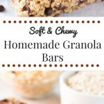 Soft & chewy, no bake Homemade Granola Bars with chocolate chips and chocolate drizzle. This peanut free granola bar recipe is so easy and so perfect for back to school!