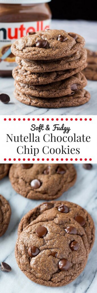 These Nutella Cookies are soft & chewy, super fudgy, & filled with Nutella goodness. Take your chocolate chip cookies up a notch with chocolate hazelnut goodness.