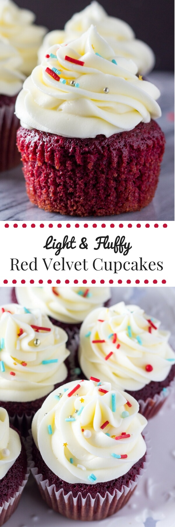 Light & fluffy, perfectly moist Red Velvet Cupcakes topped with tangy cream cheese frosting. The only red velvet recipe you need!
