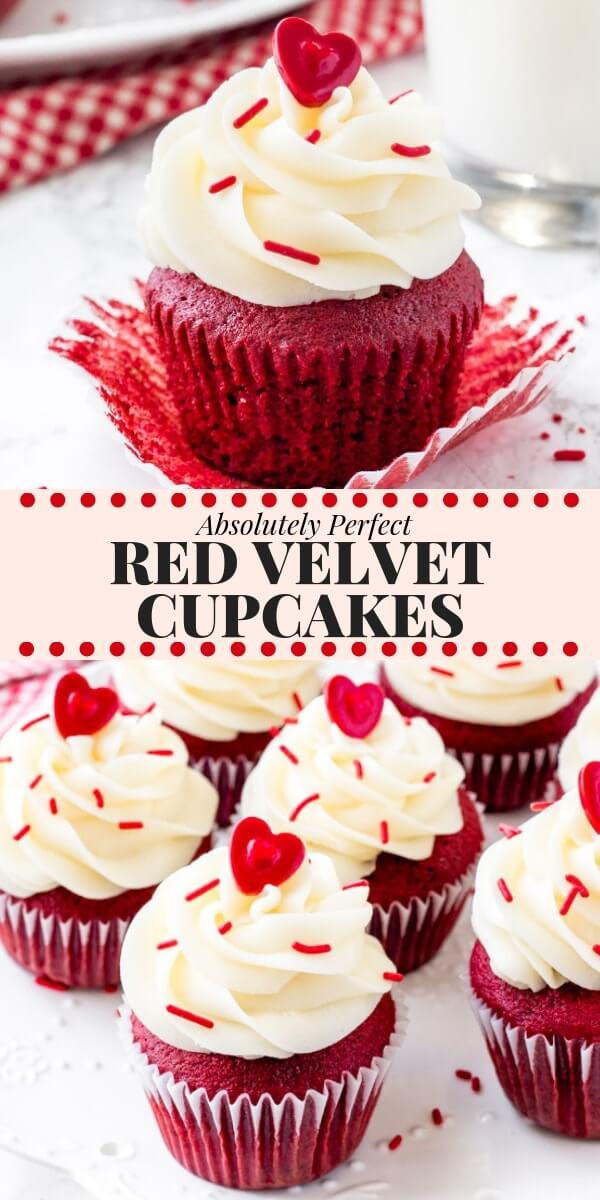 PERFECT red velvet cupcakes have a soft crumb, moist texture, hint of chocolate, and a gorgeous bright red color. Then they're topped with tangy cream cheese frosting for the best red velvet cupcake recipe. #redvelvet #cupcakes #valentines #valentinesday #recipes #creamcheesefroting #christmas #redvelvetcupcakes