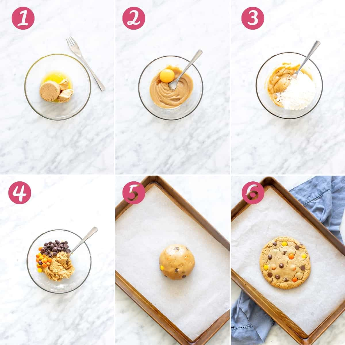 6 photos of how to make a single serving cookie