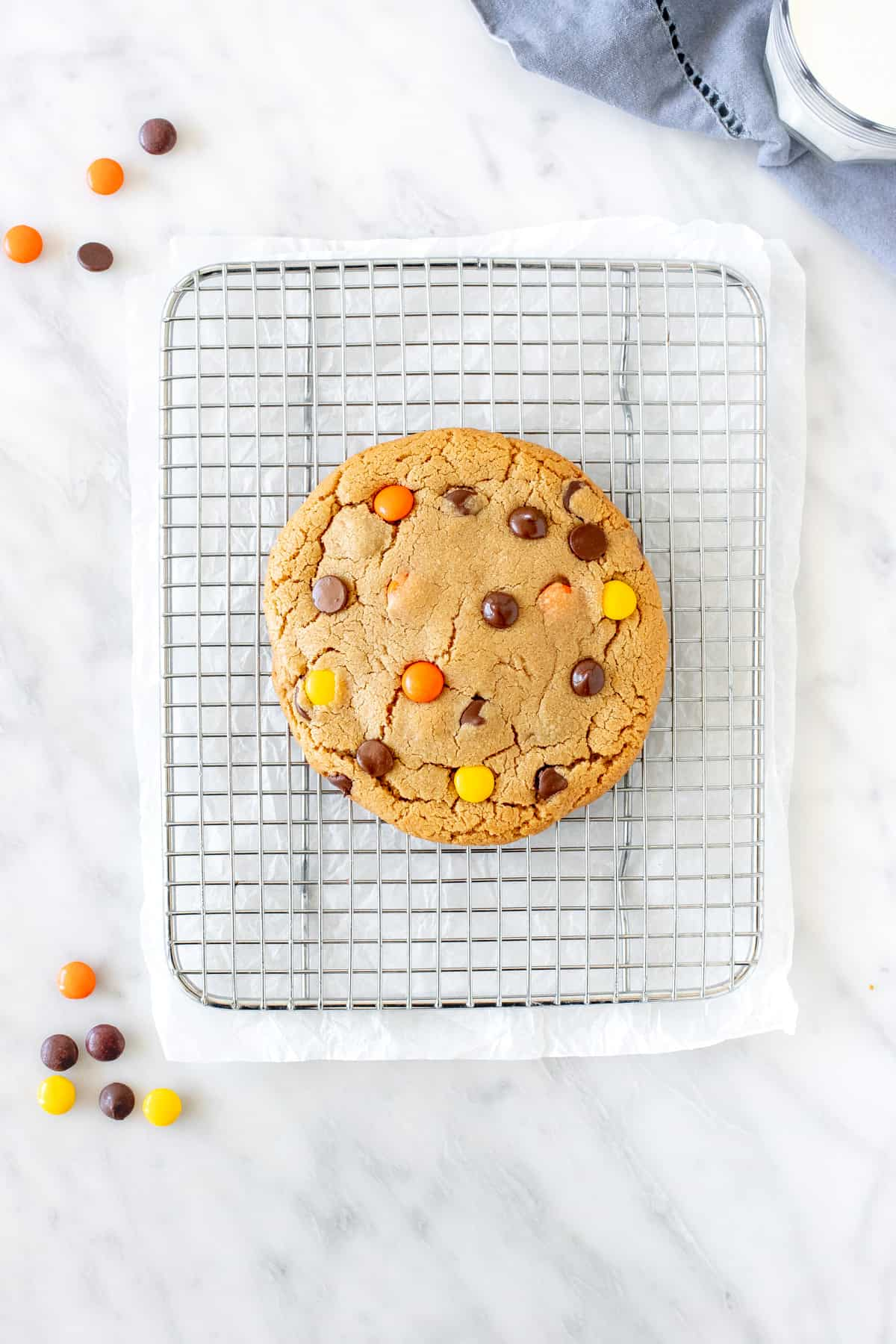 Peanut butter cookie on a cooling rack