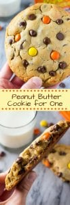 A giant, super soft peanut butter cookie that's ready in under 20 minutes. Filled with chocolate chips & Reese's - you won't want to share