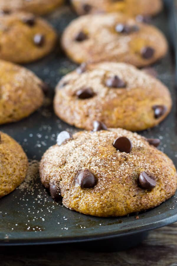 Filled with cinnamon, nutmeg, vanilla, a healthy dose of pumpkin and chocolate chips - these super moist Pumpkin Chocolate Chip Muffins are a must for your fall baking!