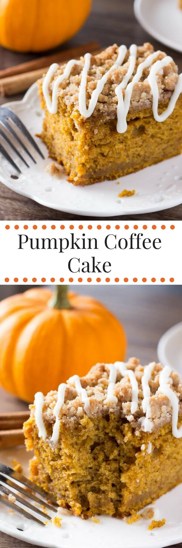 Pumpkin, spice & everything nice come together in this easy Pumpkin Coffee Cake with streusel topping. Made with sour cream so it's super moist - it's perfect for fall! #pumpkin #fall #coffeecake #pumpkincoffeecake #thanksgiving