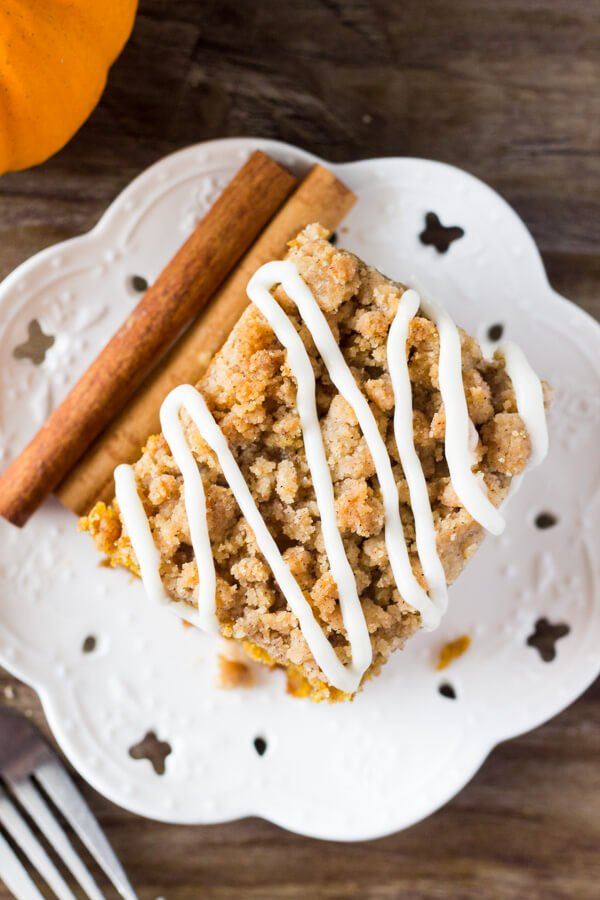 Pumpkin coffee cake recipe - extra moist and topped with brown sugar streusel.