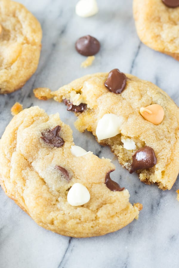 These Thin Chewy Chocolate Chip Cookies are soft, perfectly stackable, have a delicious caramel undertone, and have perfectly golden edges. If you like your cookies thin - this recipe is for you!
