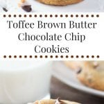 Toffee Brown Butter Chocolate Chip Cookies - big bakery style cookies that are soft & chewy, packed with chocolate chips & toffee bits, & super easy to make! www.justsotasty.com