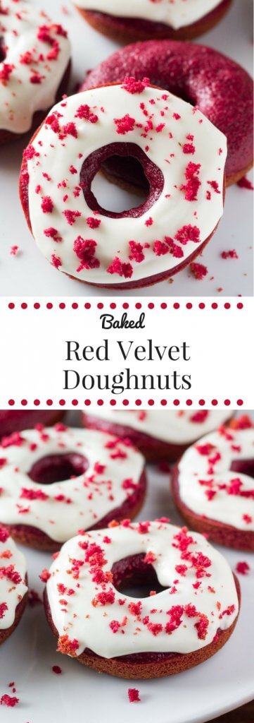 Baked Red Velvet Doughnuts. These moist doughnuts have the perfect cake doughnut crumb, a delicious red velvet flavor & a cream cheese glaze. www.justsotasty.com