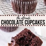 Moist and tender with an extra fudgy chocolate flavor - these chocolate cupcakes are incredible. They're made with oil and buttermilk to make them soft and fluffy, and cocoa powder creates the perfect chocolate flavor. Top them with chocolate frosting for a double dose of chocolate! #doublechocolate #chocolate #cupcakes #fromscratch #moist #easy from Just So Tasty