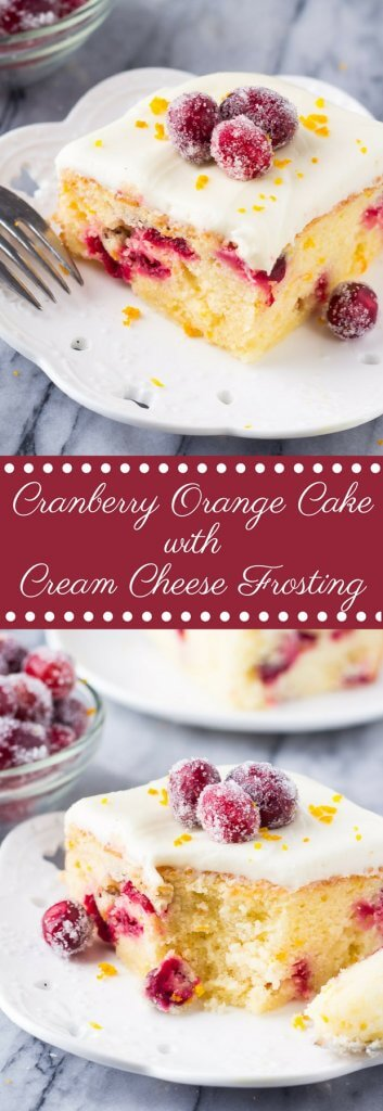 Cranberry Orange Cake with Cream Cheese Frosting. A deliciously soft Cranberry Orange Cake with Cream Cheese Frosting. Bursting with fresh oranges and dotted with tart cranberries - this is the perfect simple cake for your holiday baking! www.justsotasty.com