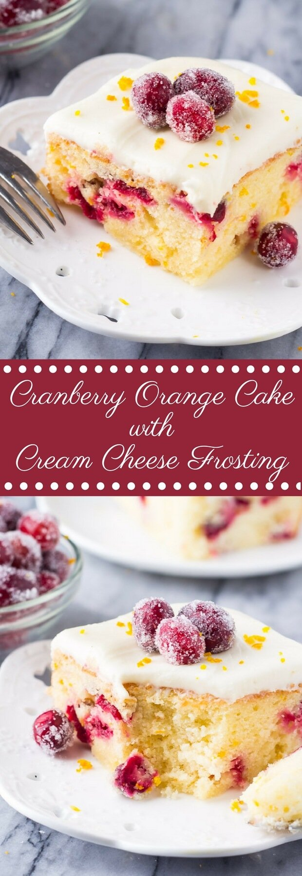 A deliciously soft Cranberry Orange Cake with Cream Cheese Frosting. Bursting with fresh oranges & dotted with tart cranberries