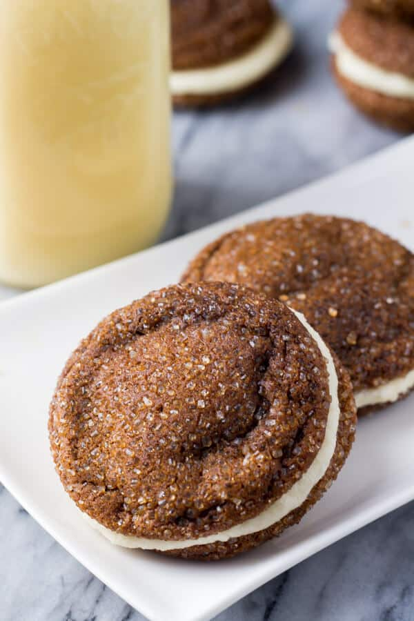 Ginger Molasses Sandwich Cookies With Eggnog Frostings