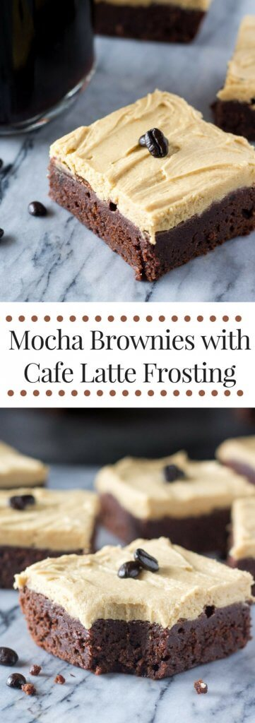 Mocha Brownies with Cafe Latte Buttercream: Super fudgy, coffee brownies topped with smooth & fluffy coffee buttercream. www.justsotasty.com