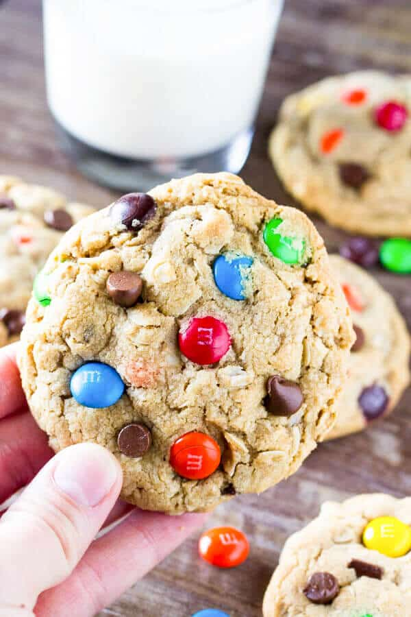 Monster Cookies are filled with peanut butter, chocolate chips, oatmeal and M&Ms. This recipe yields cookies that are soft, chewy, full of texture and completely ginormous.