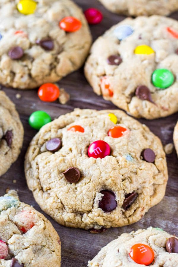 Monster cookie recipe - soft & chewy with oatmeal, peanut butter & chocolate candies.