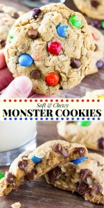 Monster Cookies are filled with peanut butter, chocolate chips, oatmeal and M&Ms. This recipe yields cookies that are soft, chewy, full of texture and completely ginormous. Packed with flavor and extra thick - everyone loves this easy monster cookie recipe. #monstercookies #cookies #oatmeal #peanutbutter #chocolatechip #recipes #easy #kids
