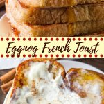 Eggnog French Toast is extra fluffy with golden edges, a hint of nutmeg and a delicious eggnog flavor. Served with maple syrup and whipped cream - it's the perfect for the holidays.#eggnog #frenchtoast #christmas #breakfast #recipes #easy from Just So Tasty