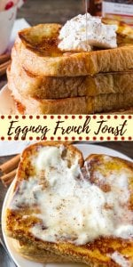 Eggnog French Toast is extra fluffy with golden edges, a hint of nutmeg and a delicious eggnog flavor. Served with maple syrup and whipped cream - it's the perfect for the holidays. #eggnog #frenchtoast #christmas #breakfast #recipes #easy from Just So Tasty