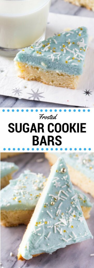 Frosted Sugar Cookie Bars. Super soft and chewy, these Lofthouse style bars melt in your mouth and are so easy to make. www.justsotasty.com