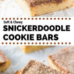 Snickerdoodle Cookie Bars. Soft and chewy with a delicious buttery flavor and crunchy cinnamon sugar topping. No mixer required and way easier than making cookies. www.justsotasty.com