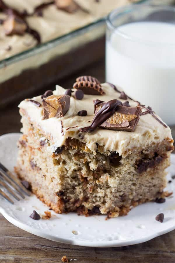Chocolate Chip Banana Cake with Peanut Butter Frosting is full of banana flavor, perfectly moist, and frosted with deliciously smooth peanut butter frosting.