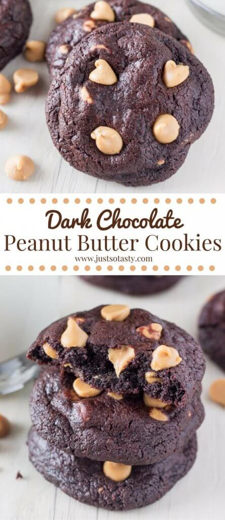 Dark Chocolate Peanut Butter Cookies. These super fudgy chocolate cookies are almost like a brownie & filled with peanut butter chips. www.justsotasty.com