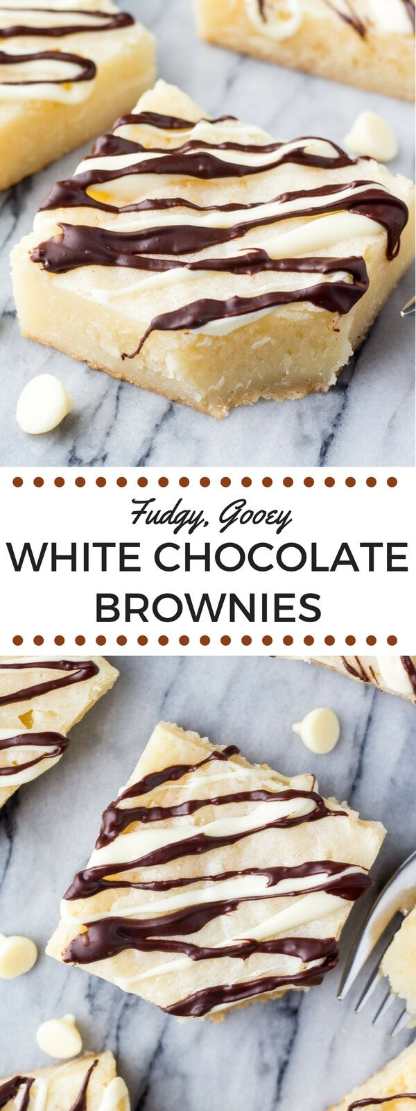 These super fudgy, gooey white chocolate brownies are made in one bowl and packed with delicious white chocolate. So decadent & so delicious #whitechocolate #brownies #fudgebrownies #chocolate