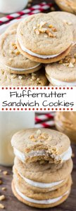 Fluffernutter Sandwich Cookies. Two soft and chewy peanut butter cookies sandwiched together with fluffy marshmallow frosting. Sweet, salty & so delicious! www.justsotasty.com