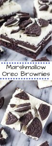 Marshmallow Oreo Brownies. Fudgy brownies stuffed with Oreo cookies, and topped with fluffy marshmallow frosting and more Oreo cookies. www.justsotasty.com